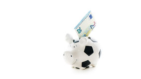 Twenty euro in Piggybank isolated on white background. savings Stock Photo