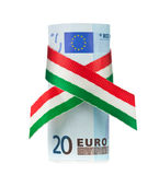 Twenty euro rolled with tricolor ribbon. On white background Royalty Free Stock Photo