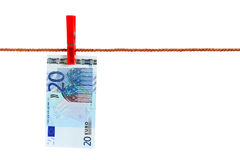 Twenty Euro On Rope Royalty Free Stock Photo