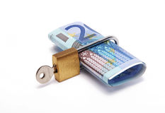 Twenty euros locked. Twenty euros with a padlock Royalty Free Stock Images