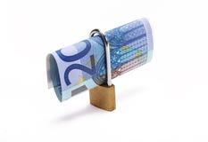 Twenty euros locked. Twenty euros with a padlock Stock Photo