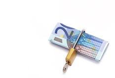 Padlock around twenty Euro banknote Stock Photography