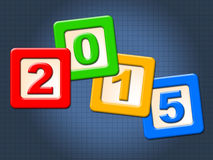 Twenty Fifteen Blocks Means Happy New Year And Annual Stock Photos