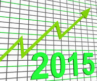 Twenty Fifteen Graph Chart Shows Increase In 2015. Twenty Fifteen Graph Chart Showing Increase In 2015 Stock Photo