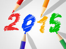 Twenty Fifteen Indicates Kids Youths And Drawing. Twenty Fifteen Representing New Year And Annual Stock Photos