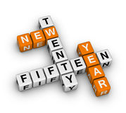 Twenty fifteen new year. (orange-white crossword puzzles series Royalty Free Stock Photos