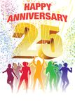 Twenty-fifth anniversary. Colorful crowd of dancing people celebrating twenty-fifth anniversary Royalty Free Stock Photography