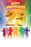 Twenty-fifth anniversary. Colorful crowd of dancing people celebrating twenty-fifth anniversary Stock Image