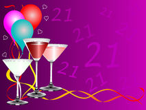 Twenty First Birthday party Background Template. A twenty first birthday party background template with drinks glasses and balloons. The additional format is an Stock Photo