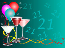 Twenty First Birthday party Background Template. A twenty first birthday party background template with drinks glasses and balloons. The additional format is an Royalty Free Stock Image