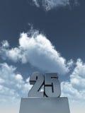 Twenty five. Metal twenty five - 25 - in front of cloudy sky - 3d illustration Stock Image