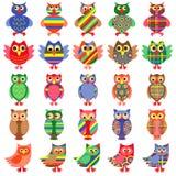 Twenty five amusing colorful owls royalty free illustration