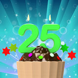Twenty Five Candle On Cupcake Means Birth. Twenty Five Candle On Cupcake Meaning Birth Anniversary Or Celebration Stock Image