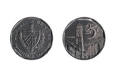 Twenty-five cents cuban coin Royalty Free Stock Photography