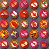 Twenty Five Circular Flat Icon Italian Food Prohibition Royalty Free Stock Photography