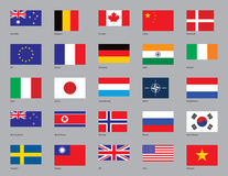 Twenty-Five Flags. The flags of Australia, Belgium, Canada, China, Denmark, EU, France, Germany, India, Ireland, Italy, Japan, Luxembourg, NATO, Netherlands, New Royalty Free Stock Photos