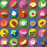 Twenty Five Flat Icon Italian Food Collection Royalty Free Stock Images