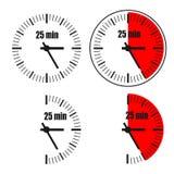 Twenty five Minutes Clock on white background. Four options Royalty Free Illustration