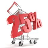 25% - twenty five percent discount in front of shopping cart. Sale concept. 3D Royalty Free Stock Images