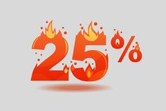 Twenty five percent discount, numbers on fire royalty free illustration