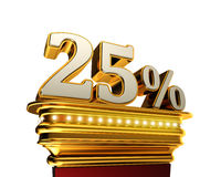 Twenty five percent figure over white background Stock Images