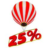 Twenty-five percent flies in a hot air balloon. Isolated. 3D Illustration Stock Photography
