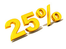 Twenty-five percent. Gold. 3d Stock Photo
