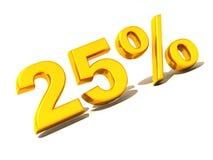Twenty-five percent. Gold. 3d. Very beautiful three-dimensional illustration, figure Stock Photo