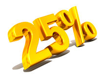 Twenty-five percent. Gold. 3d Very beautiful three-dimensional illustration, figure Stock Photos