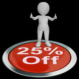 Twenty-Five Percent Off Button Shows 25 Lower Price Royalty Free Stock Photo