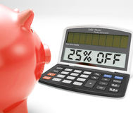 Twenty-Five Percent Off Calculator Means 25 Savings Stock Photos