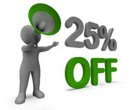 Twenty Five Percent Off Character Means Cut Rate Or Sale 25%. Twenty Five Percent Off Character Meaning Cut Rate Or Sale 25 Stock Photography