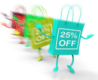 Twenty-five Percent Off On Colored Bags Show Bargains Stock Images