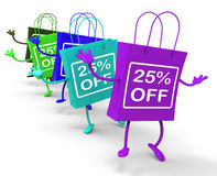 Twenty-five Percent Off On Colored Shopping Bags Show Bargains Stock Photography