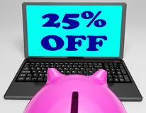 Twenty-Five Percent Off Laptop Means Online Shopping Save 25 Royalty Free Stock Photos