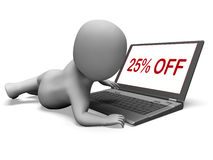 Twenty Five Percent Off Monitor Means 25% Deduction Or Sale Onli Royalty Free Stock Photos