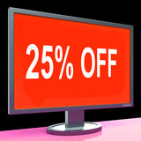 Twenty Five Percent Off Monitor Means Discount Royalty Free Stock Photography