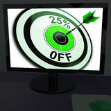 Twenty-Five Percent Off On Monitor Shows Promotions Stock Photo