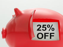Twenty-Five Percent Off Piggy Bank Shows Price Stock Image