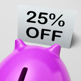 Twenty-Five Percent Off Piggy Bank Shows 25 Stock Photography