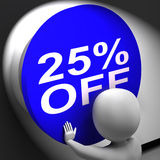 Twenty-Five Percent Off Pressed Shows 25 Price Reduction Royalty Free Stock Photo