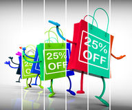 Twenty-five Percent Off Shopping Bags Show 25 Discounts Stock Photos