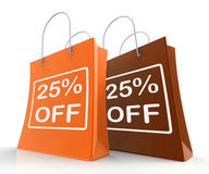 Twenty-Five Percent Off On Shopping Bags Shows 25. Bargains Royalty Free Stock Images