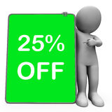Twenty Five Percent Off Tablet Character Means 25% Reduction Or Royalty Free Stock Photos