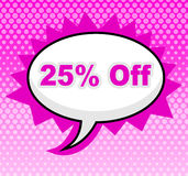 Twenty Five Percent Represents Display Promo And Promotional Stock Image