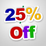 Twenty Five Percent Represents Sale Promotion And Promotional Royalty Free Stock Photos