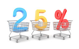 Twenty five percent symbol in shopping cart Stock Photo