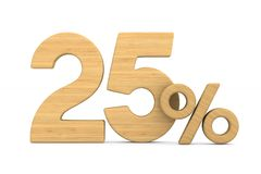 Twenty five percent on white background. Isolated 3D illustratio. N Vector Illustration
