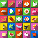 Twenty Five Square Flat Icon Italian Food Royalty Free Stock Image