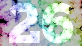 Twenty five to twenty six years birthday fade in/out animation with color gradient moving bokeh background. Animation: 90 frames still with number, 180 fade vector illustration